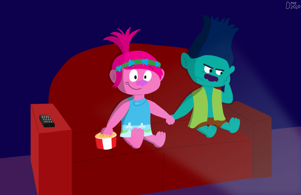 The recently released Trolls World Tour has created a situation where films are now On Demand or streaming at home. Even the Trolls stars are doing it. Artwork courtesy of David Weimer